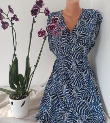 H&M L.O.G.G. midi plavo bela haljina vel 36/38