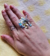 Swarovski kristali srebrni prsten 925
