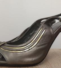 Tamno srebrno-zlatne sandale na visoku štiklu