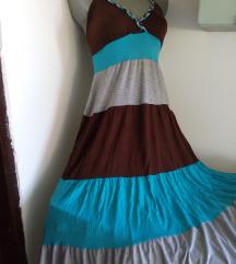 Sivo braon plava haljina S/M