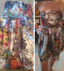 Prelepa svilena haljina sa kaisem NOVA