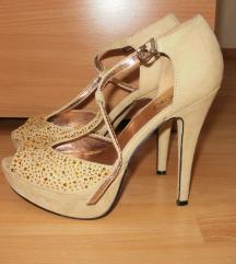 Velur sandale medeno žute/bež boje sa cirkonima