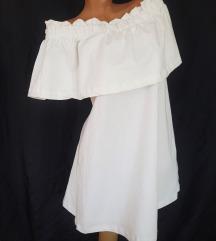 H&M masivna bela off-shoulders haljina A-kroj