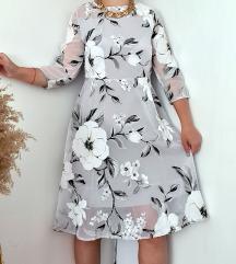 Cvetna haljina sivo bela