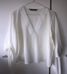ZARA bela bluza dugih rukava