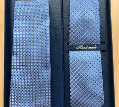 Nova plava kravata + maramica 100% svila Maruska