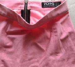Pink Mini suknja od izvrnute koze