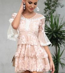 SNIŽENJE  3.000 DIN Roze haljina sa čipkom NOVA