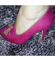 TOTALNO SNIZENJE Pink cipele na stiklu od velura