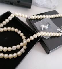 Novo! Biserna ogrlica narukvica + mindjuse