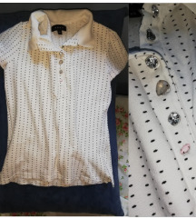 Majica sa kragnom i cirkonima S-M
