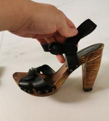 Italijanske crne sandale KOŽA