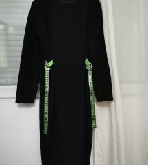 Zara crna haljina sa trakama