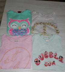 Četiri majice za devojcice 8 godina