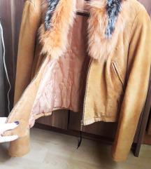 Kozna jakna(prirodna koza) sa prirodnim krznom
