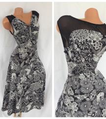 COSIMA ♕ slojna trikolor haljina sa crnom mrežicom