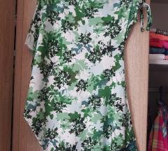 Zelena cvetna majica asimetricna