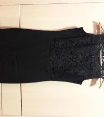 Sisley crna haljina sa cipkom