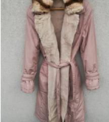 Snizenje bunda pravo krzno zeca kaput jakna roze