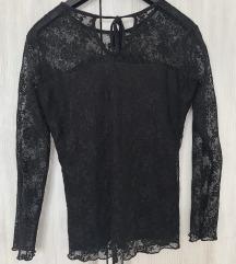 Crna čipkana bluza