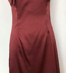 Satenska bordo haljina