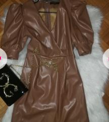 Kožna haljina sa puf rukavima