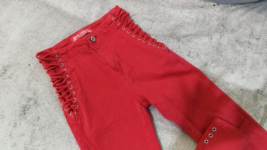 Crvene high waist pantaone