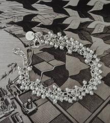 Srebrna boho narukvica sa kuglicama 925
