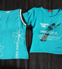 2 tirkizno plave majice