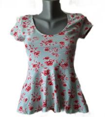 *H&M* cvetna bluza, peplum pojas