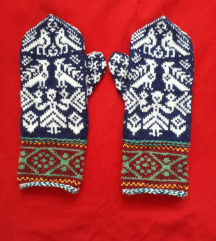 Ručno pavljene vunene rukavice UNIKAT