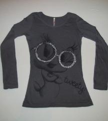 Siva Tweety majica sa strasom, dug rukav novo S