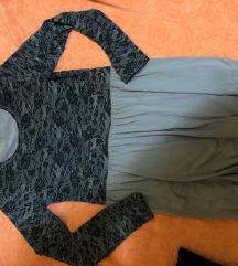 Braon haljinica sa crnim detaljima univerzalna