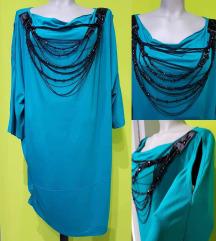 Tunika,haljina elegantna tirkiz sa divnim ukrasom