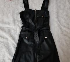 Kožna haljina BERSHKA XS