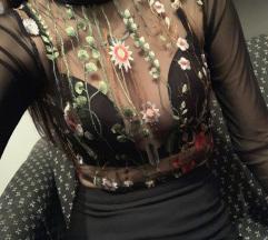 Crna providna cipkana bluza