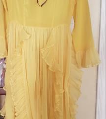 Zuta plisirana haljina