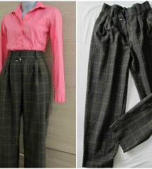 Dubokog struka vintage karirane pantalone M/Srez.