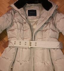 Zara zimska, duga, krem jakna kao nova