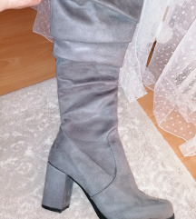 Sive cizme prevrnuta koža snižeenjee!!!