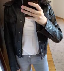 ZARA tamno braon KOZNA jakna M