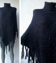 pončo džemper crni sjajne niti broj 38 do 42