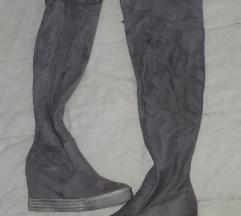 Sive cizme preko kolena AKCIJA