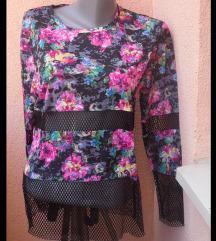 NOVA cvetna bluza sa umetnutom mrežom