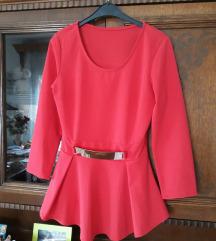 Nova crvena svecana peplum bluza