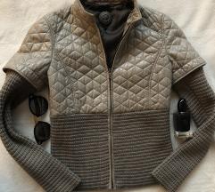 SANTACROCE siva kozna i vunena jakna 40 ili XS