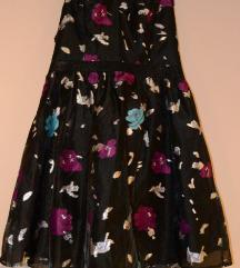 Naf Naf crna koktel haljina sa cvetnom šarom