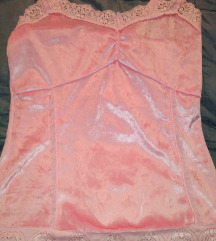 Bebi roze plisana majica sa cipkom