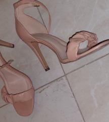 Krem roze stikle sandale