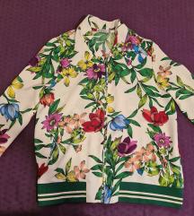 Bomber jakna sa cvetnim dezenom